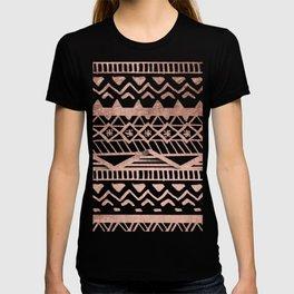 Faux rose gold handdrawn trendy tribal aztec pattern T-shirt