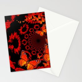 Awesome Decorative Monarch Butterflies on Black Stationery Cards