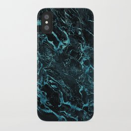 Black & Teal Color Marble iPhone Case