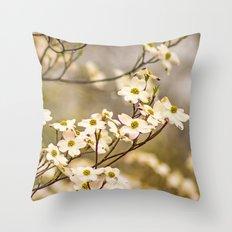 Wild Dogwood Blossoms Throw Pillow