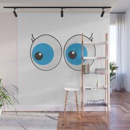 Cartoon eyes funny tshirt  Wall Mural