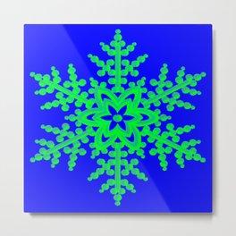 Snowflake in Blue Field, Gift Metal Print