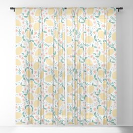 Summer Lemons with Pink Blossoms Sheer Curtain