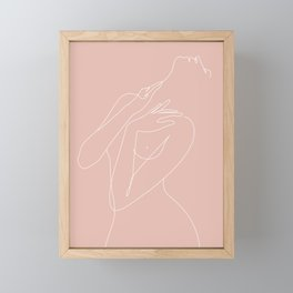 wake woman line-pink Framed Mini Art Print