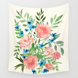 Watercolor Peonies Wall Tapestry