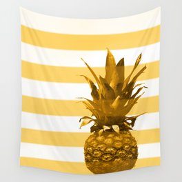 Pineapple with yellow stripes - summer feeling Wall Tapestry