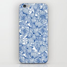 Modern royal blue white hand painted watercolor floral iPhone Skin