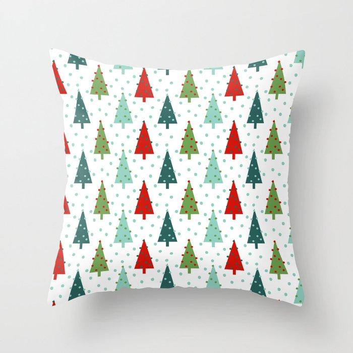 Christmas Tree holiday dots snow polka dot minimal modern geometric  christmas decor design Throw Pillow by charlottewinter