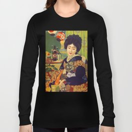 Vintage Japanese Beer Colorful Ad Long Sleeve T-shirt