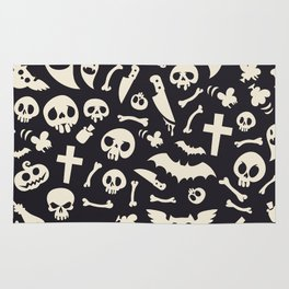 Halloween Symbols Pattern Contrast Rug