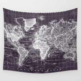 Vintage Map of The World (1833) Purple & White  Wall Tapestry