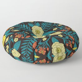 Teal, Yellow, Orange & Black Botanical Pattern Floor Pillow