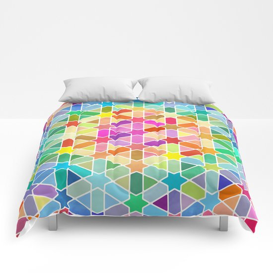 Rainbow Honeycomb with Stars Comforters