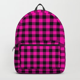 Bright Hot Neon Pink and Black Gingham Check Backpack