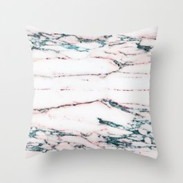 Zinfindel Blush and Seafoam-Blue Marble Throw Pillow