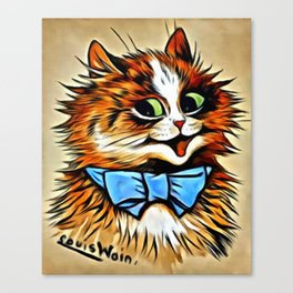 """Louis Wain's Cats """"Tabby with Blue Bow"""" Canvas Print"""