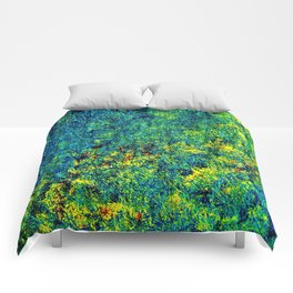 Abstract Flowers yellow and green Comforters