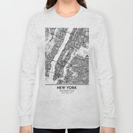 New York City Showing Manhattan, Brooklyn and New Jersey Long Sleeve T-shirt