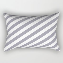 Pantone Lilac Gray & White Stripes Fat Angled Lines - Stripe Pattern Rectangular Pillow