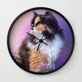 Calico Kitty In The Garden Wall Clock