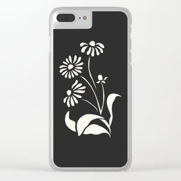 White Decorative Flower on Black, Minimalist line drawing, Modern art print with flower. Clear iPhone Case