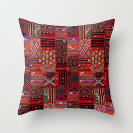 N246 - Red Oriental Berber Traditional Boho Moroccan Collage Throw Pillow