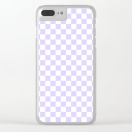 White and Pale Lavender Violet Checkerboard Clear iPhone Case