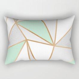 Mint Green, Grey & Gold Geo Rectangular Pillow