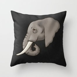 Elephant Ivory Throw Pillow