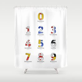 Navy Alphabet Numbers - Leather Shower Curtain