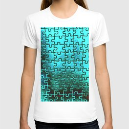 Blue puzzle design T-shirt