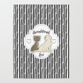 Unconditional Love Cat and Dog as Family Members Stripes Poster
