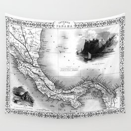 Vintage Map of Panama (1851) BW Wall Tapestry