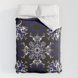 Dark Blue, Black, and White Pattern Comforters