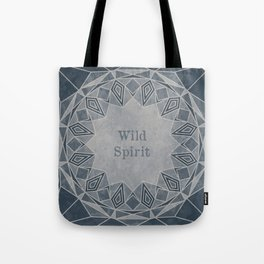 Wild Spirit Mandala blue and gray tones with a grunge texture Tote Bag