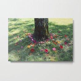 Beautiful Earth in Floral Decor Metal Print