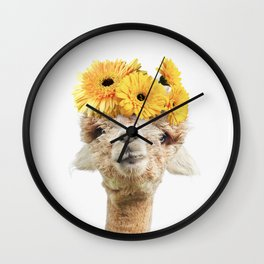 Alpaca with Yellow Flowers Wall Clock