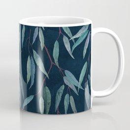 Eucalyptus leaves on indigo blue Coffee Mug