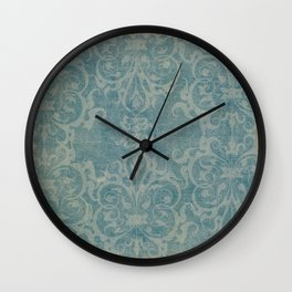 Antique rustic teal damask fabric Wall Clock