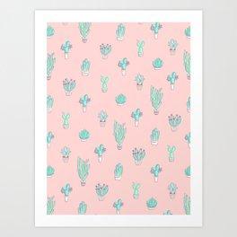 Little succulent pattern on pastel pink Art Print