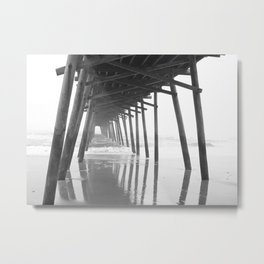 Into the Sea, Black and White Metal Print