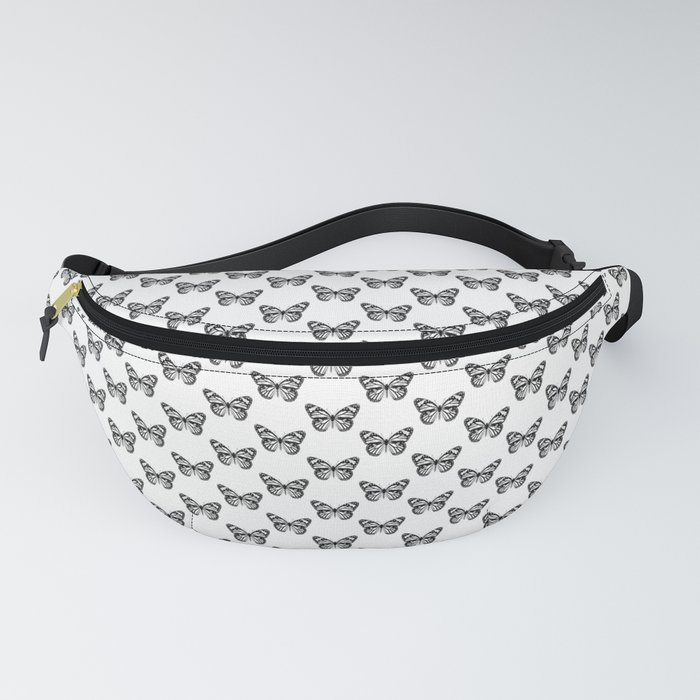 Monarch Butterfly Pattern   Black and White Fanny Pack