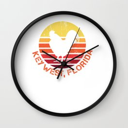 Retro Distressed Key West Florida Chicken Gift or Souvenir Design  Wall Clock