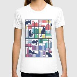 Rainbow bookshelf // white background navy blue shelf and library cats T-shirt