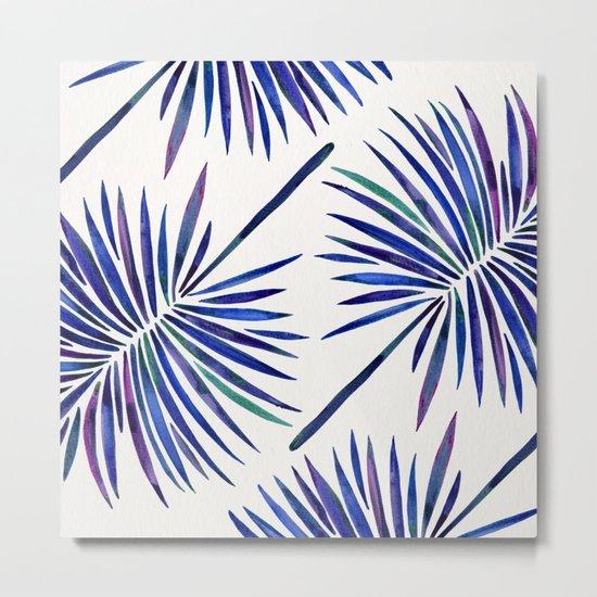 Tropical Fan Palm – Indigo Metal Print