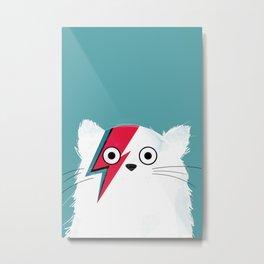 Cat Hero White Metal Print