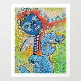 Koi Fish Sugar Skull Art Print