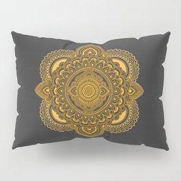 Hand Drawn Mandala in Golden Yellow Pillow Sham