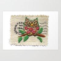 owl stamp Art Print
