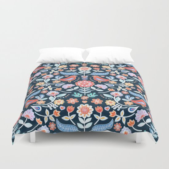 Happy Folk Summer Floral On Navy Duvet Cover By Micklyn
